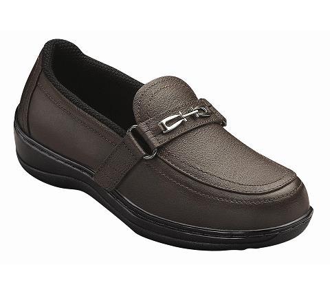 fashion diabetic shoes brown slip on orthofeet