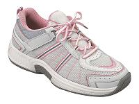 ORTHOFEET Athletic Tie-Less White Mesh/Pink Stripes Lace